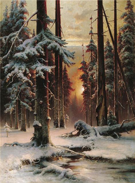 Зимний закат в еловом лесу 1889 471x640 68kb