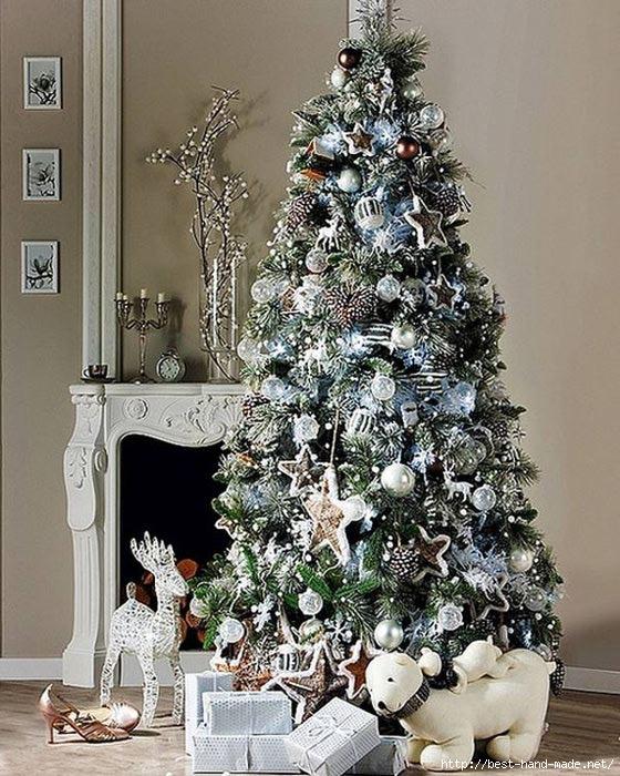 Как украсить дом к Новому году и Рождеству.  Модный дизайн интерьера на фото.