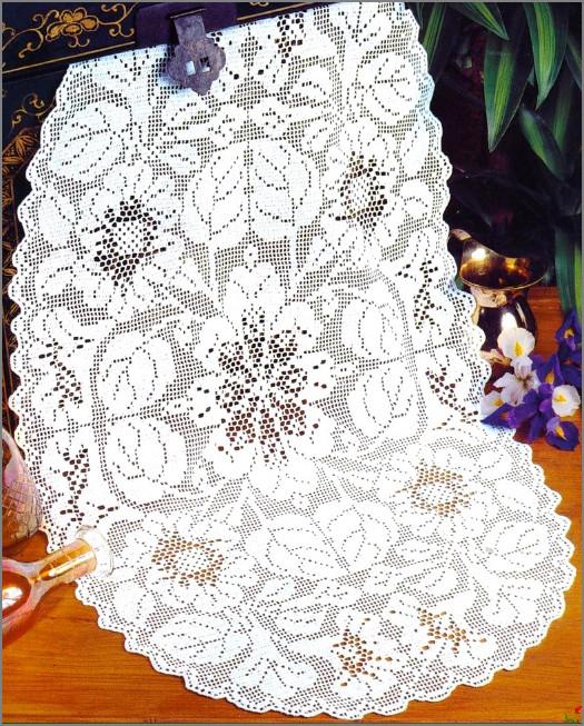 Большая салфетка филейное вязание