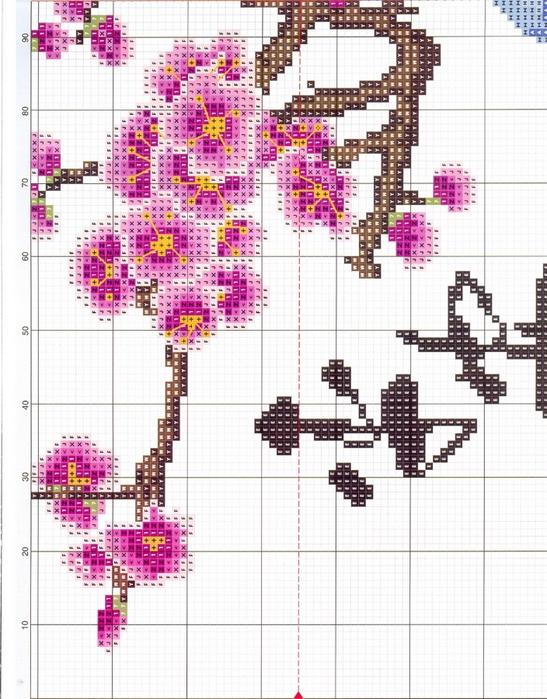 Схема вышивка крестиком сакура