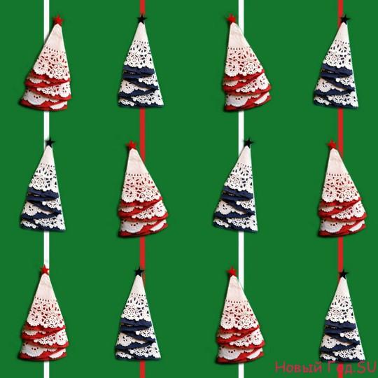 МК: Новогодняя гирлянда из бумажных елочек Вертикальная гирянда из бумаги на окно своими руками Новый Год