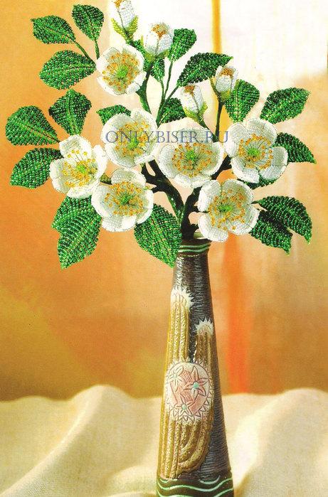 Для плетения жасмина потребуется. бисер. белого, желтого.зеленого цветов; - проволока зеленого и серебристого цвета...