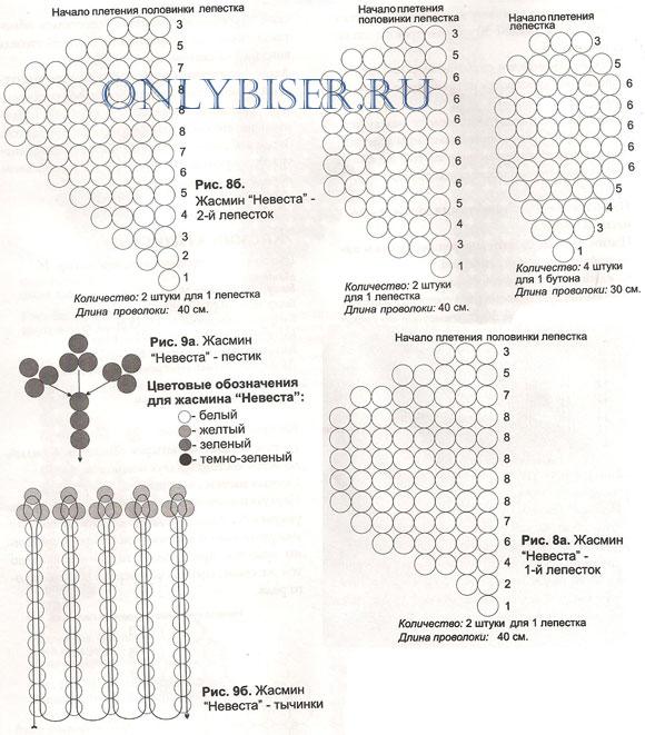 Бисер схема плетение жасмина