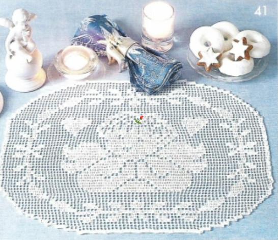 Новогодняя скатерть крючком филейное вязание 25