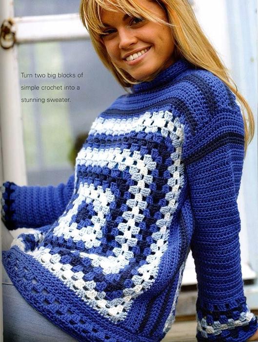 Пуловер, связанный