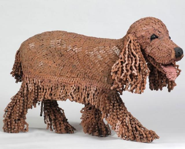 скульптуры собак из велосипедных деталей (640x517, 235Kb)