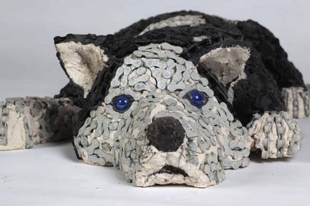 скульптуры собак из велосипедных деталей 2 (640x426, 174Kb)