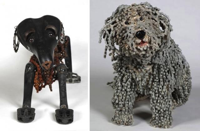 скульптуры собак из велосипедных деталей 6 (640x419, 169Kb)