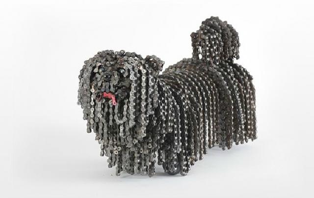 скульптуры собак из велосипедных деталей 8 (640x403, 136Kb)