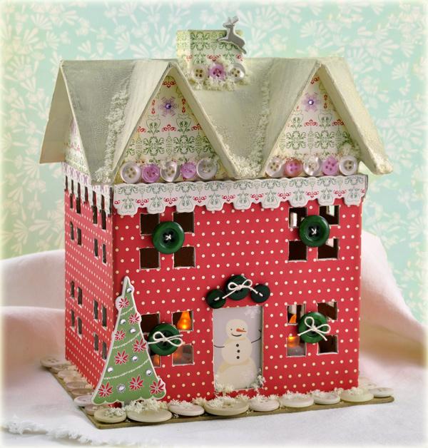 Рождественский домик своими руками из картона шаблон