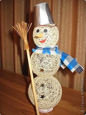 Поделки на новый год снеговик из ниток
