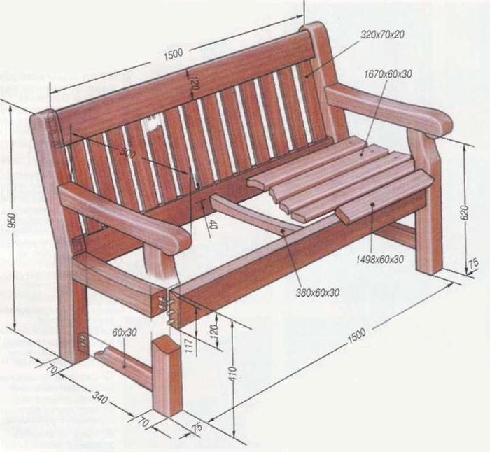 Садовая мебель своими руками чертежи и схемы 90