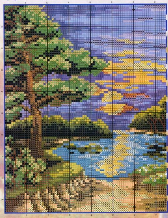 Бесплатные схемы вышивки крестом природа пейзаж