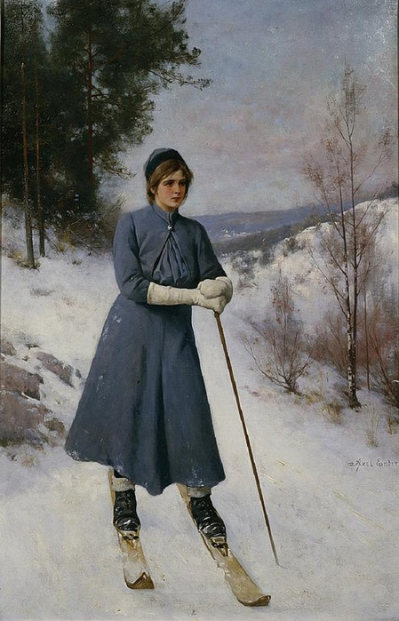 Axel Ender (1853–1920) .girl-on-skis (449x700, 124Kb)