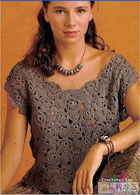Блуза из роз крючком (461x640, 135Kb)