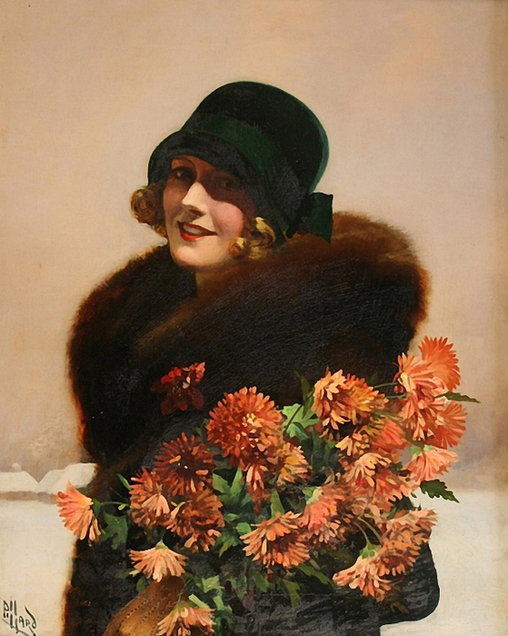 half-length-portrait-of-a-young-lady-wearing-a-green-hat-and-fur-coat-whilst-holding-chrysanthemums (559x700, 295Kb)