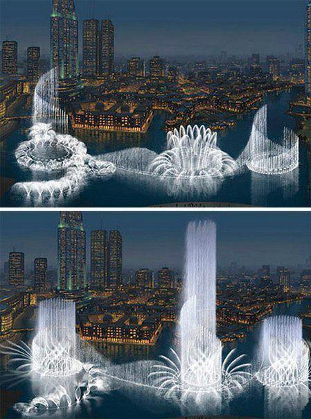 Самый большой и самый дорогой фонтан в мире находится в Дубаи. Длина фонтана 270 метров, струи воды бьют на высоту до 150 метров (449x604, 61Kb)