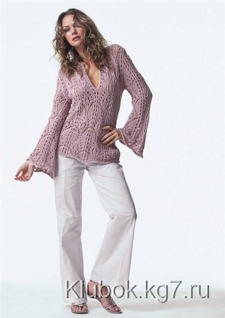 розовый ажурный пуловер (453x640, 31Kb)