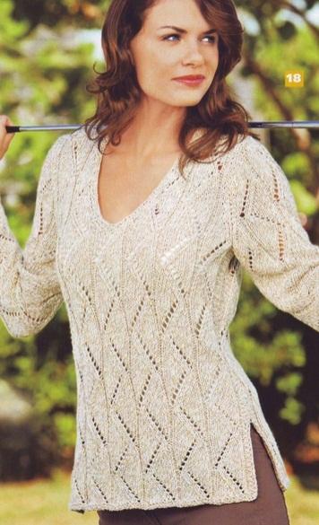 Пуловер связан спицами №4,5 из