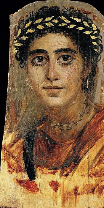 Неизвестный художник - Портрет молодой женщины в красном Римский период; A.D. 90-120; Египет; Энкаустика, липовое дерево, позолота (351x700, 144Kb)