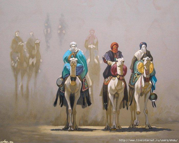 Скачать обои рисованные, верблюды, всадники, Hocine Ziani 800x600.