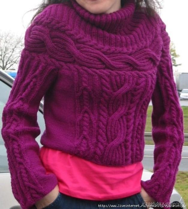 Вязаный пуловер (627x699, 195Kb)