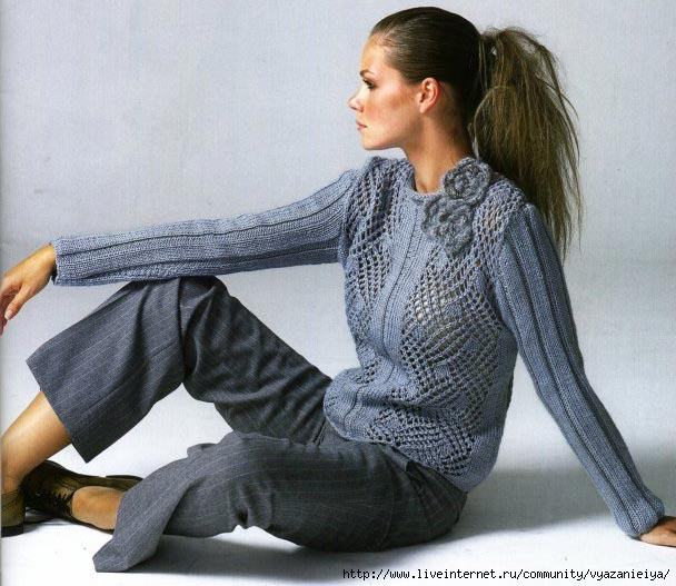 вязаный пуловер (608x527, 174Kb)