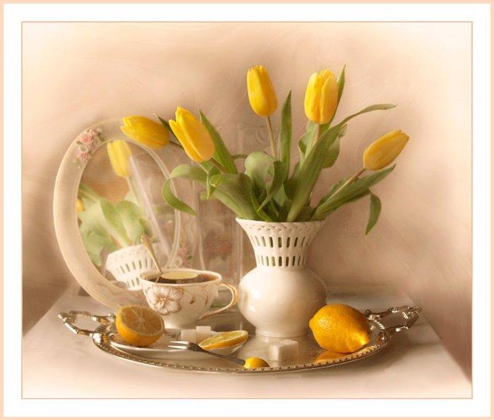 Открытки с тюльпанами с добрым утром 40