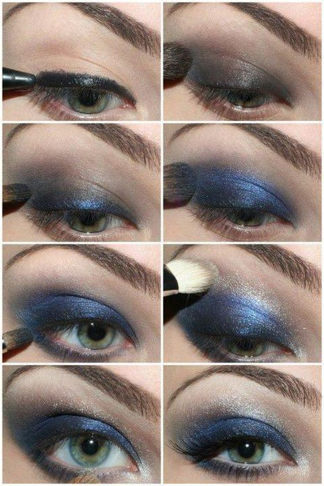 Dark blue eyes makeup