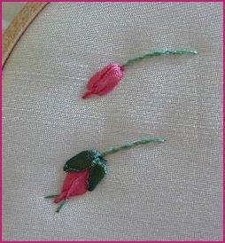 Вышивка лентой бутоны - Светлинки от Даши: Вышиваем лентой бутон розы, стебли, листья