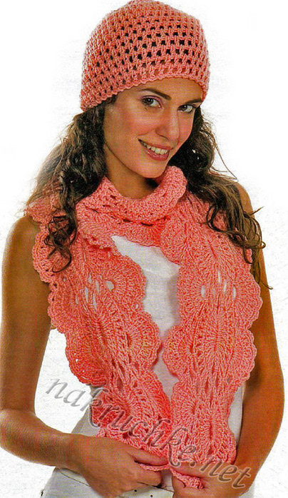 Шапочка и ажурный шарф крючком со схемой.
