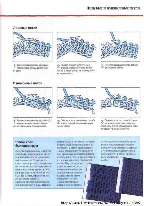 Вязание резинки лицевой и изнаночной петлей