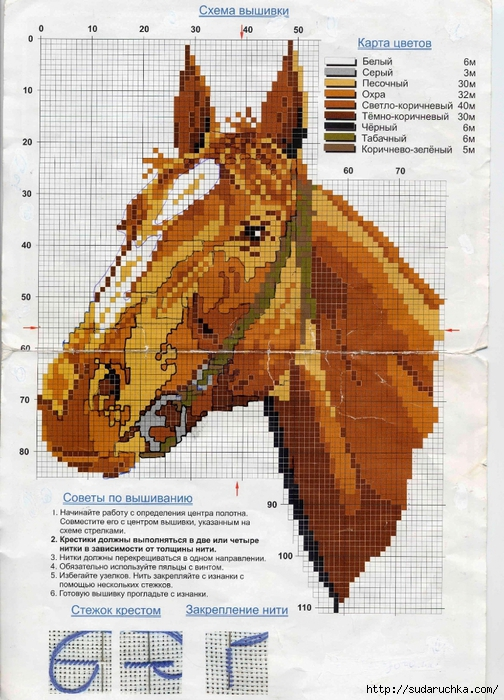 Лошади - вышивка крестом.