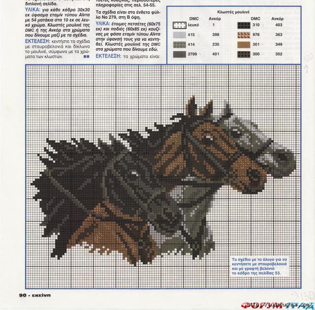Схема вышивки лошади.