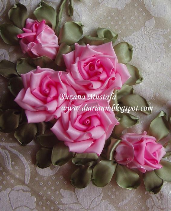Вышивка лентами шикарные розы 787