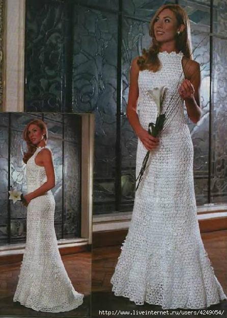 Платье крючком в пол описание