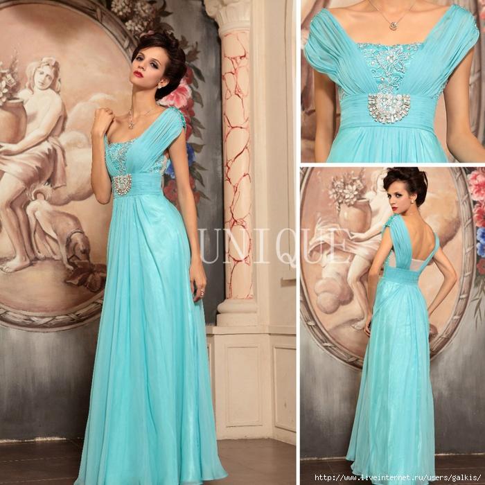 Голубое платье в пол 8