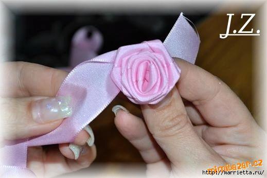 Цветок из целой ленты пошаговое