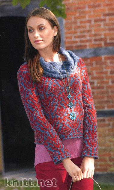 Короткий пуловер с воротником