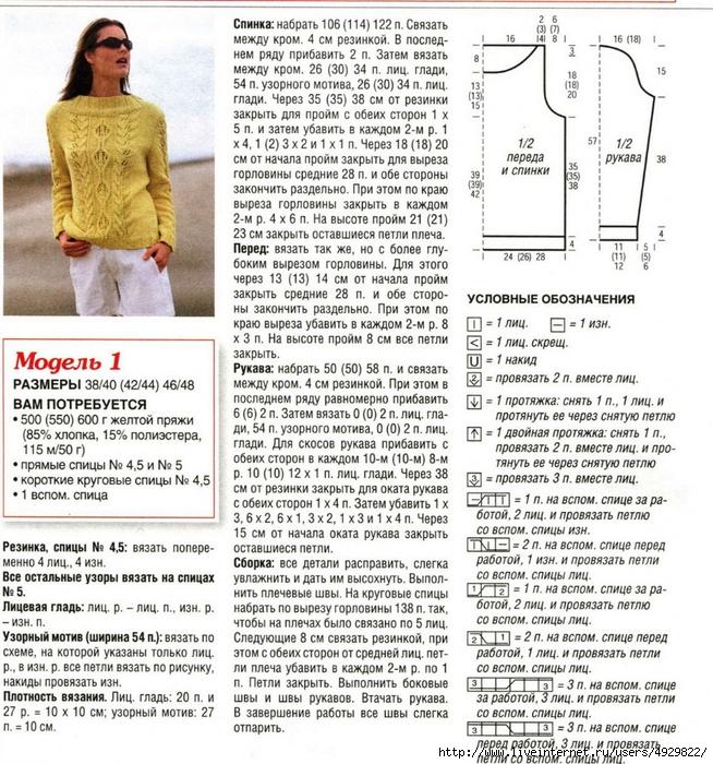 Как вязать пуловер с рукавов схема