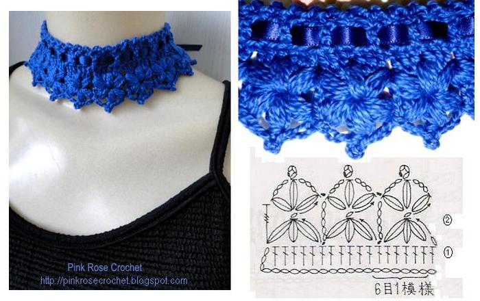 Colar Golinha Azul Marinho Crochet Collar- gr (700x440, 463Kb)