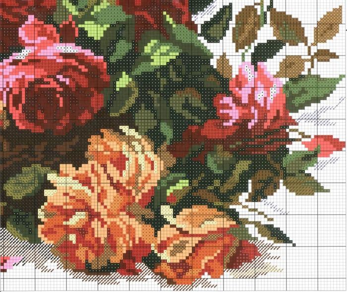 Схемы вышивки королевские розы крестом