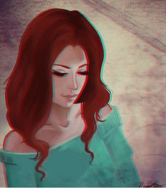 нарисованные рыжие девушки на картинках