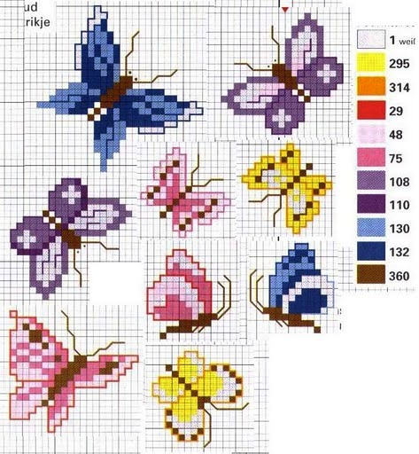 Простые схемы вышивок крестом бабочек