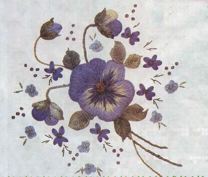 Размер вышивки с цветами при печати на принтере 29х28 см. Цветы гладью.  Схема вышивки цветов гл.