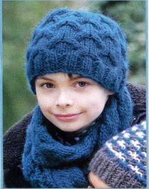 Эта шапка и шарф связаны ирландским узором, называемым иногда аранами.  Его описание, схема и видео находятся в этой...