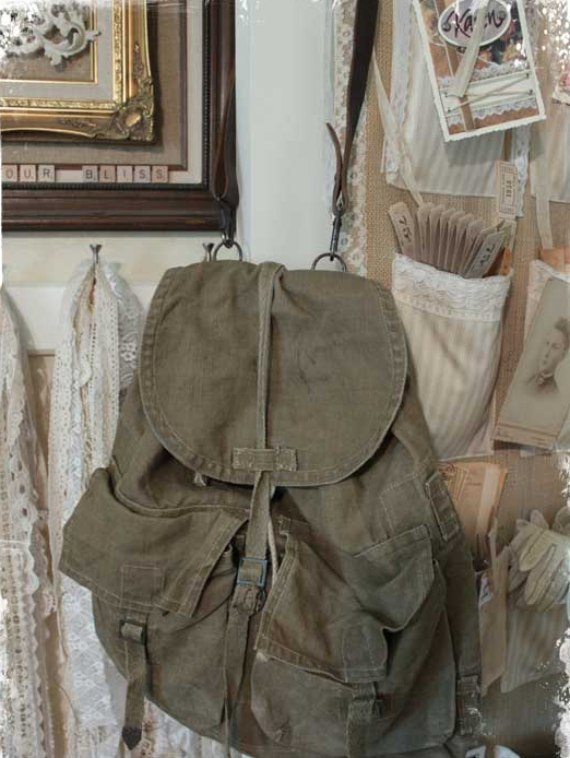 Превращение армейского рюкзака в гламурную винтажную сумку