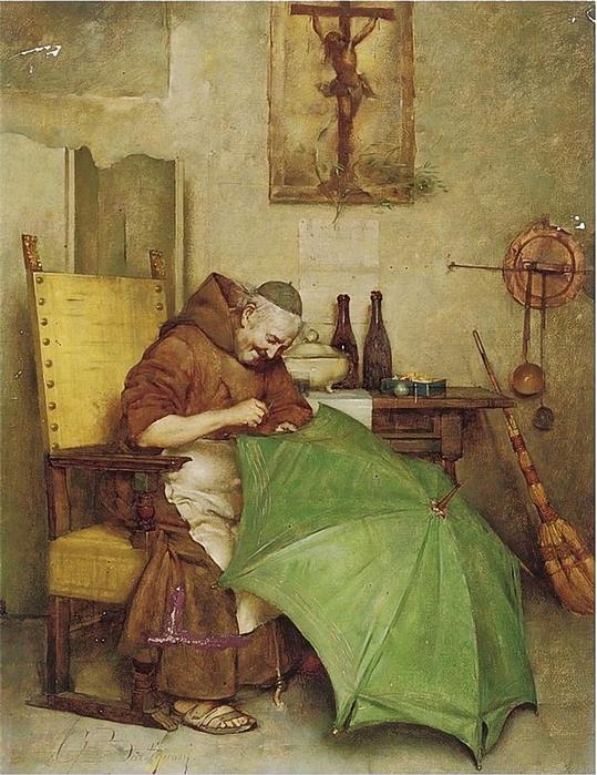 Giuseppe Bortignoni. A monk repairing an umbrella. 1893 (539x700, 328Kb)