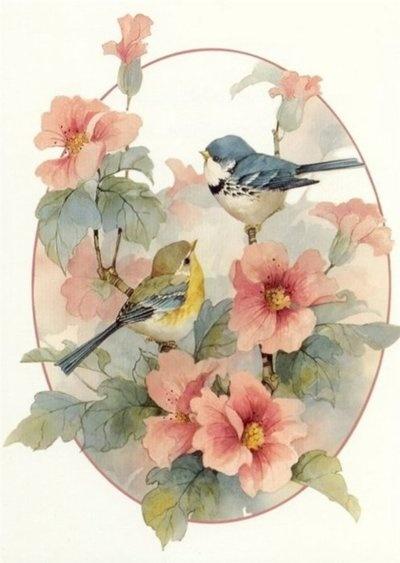 Птички.  Марка нитей.  178x250 крестов. пернатые.  Гамма, 49 цветов.  Теги: красота.