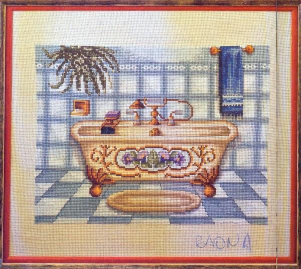 Вышивка крестом для ванны и туалета 66